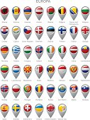 Map marker set with flags of Europa