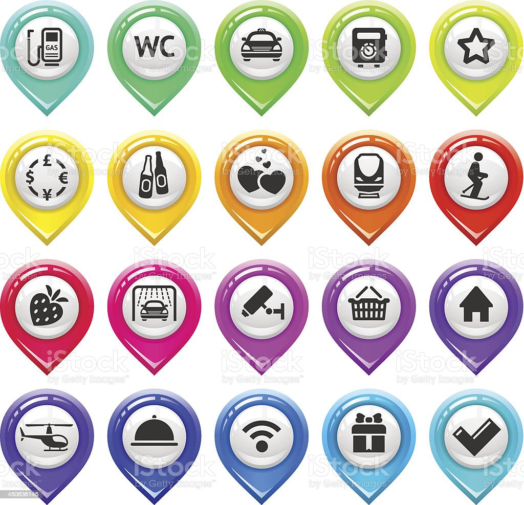 Map marker with icons-set three vector art illustration