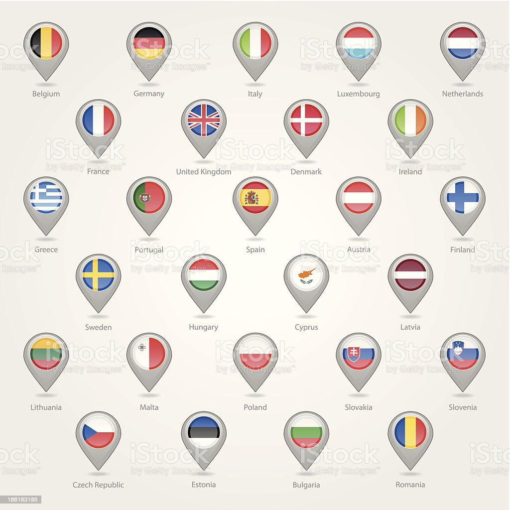 Map markers flags the EU countries royalty-free stock vector art