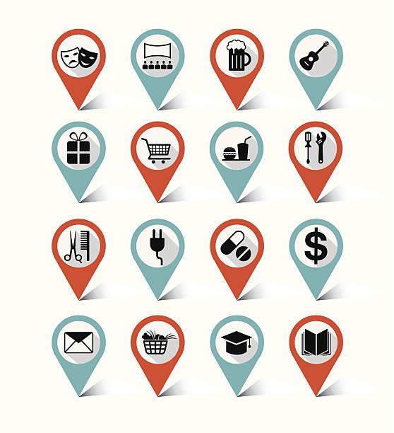karte marker-icons set: reiseziel, hotel - hochschulgetränke stock-grafiken, -clipart, -cartoons und -symbole