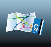 istock Map. Metro line. Pointer 600135102
