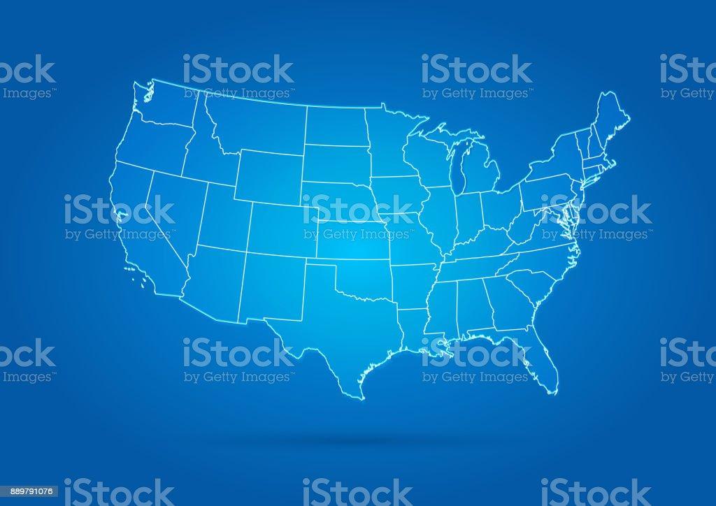 USA map modern style blue