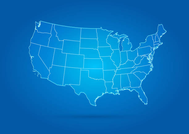 usa map modern style blue - united states map vector stock illustrations, clip art, cartoons, & icons