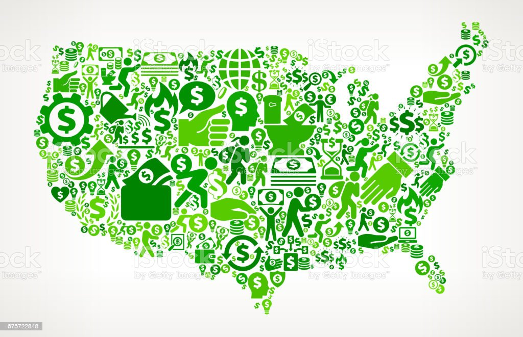 Us Map Money And Finance Green Vector Icon Background Stock Vector