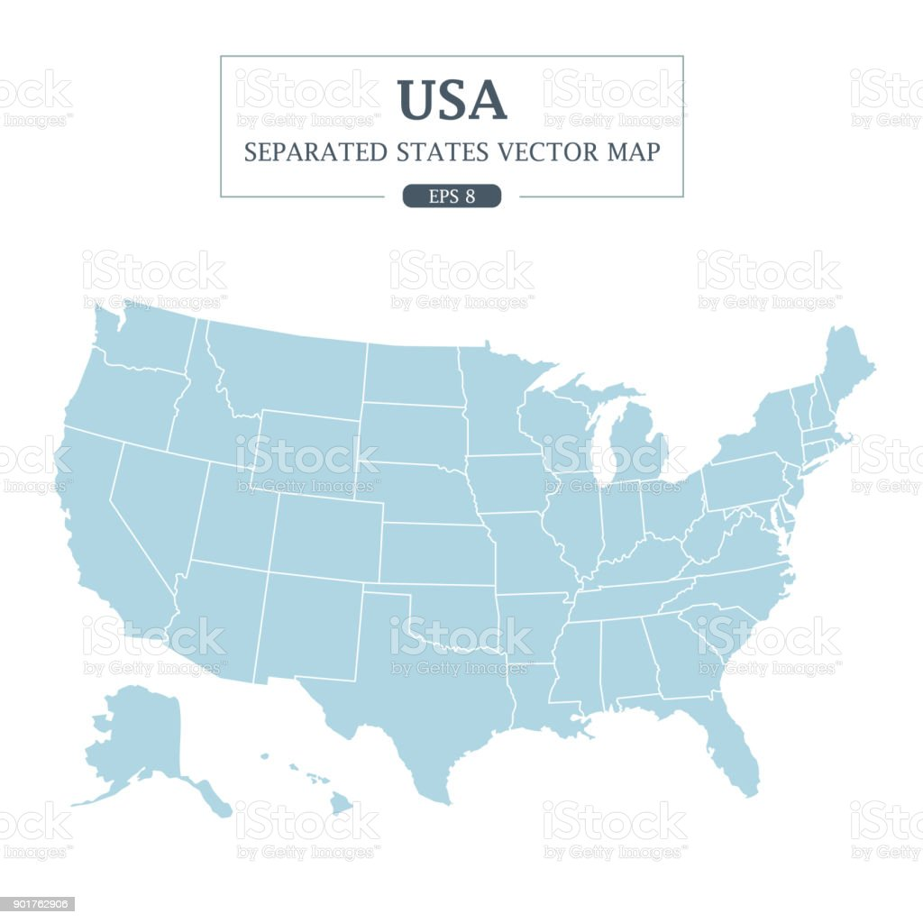 USA Map Mono Color High Detail Separated all states Vector Illustration royalty-free usa map mono color high detail separated all states vector illustration stock illustration - download image now