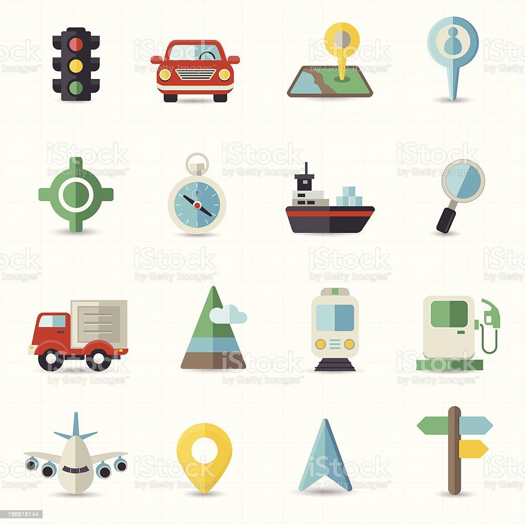 Map navigation and transportation vector art illustration