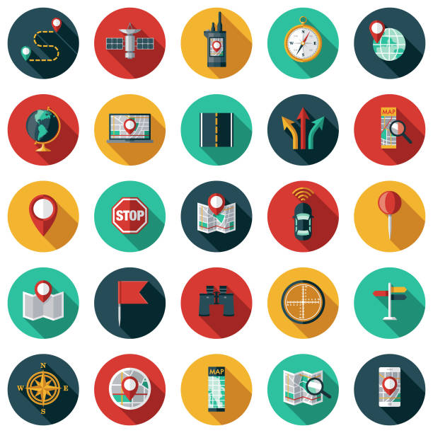 stockillustraties, clipart, cartoons en iconen met kaart & navigation icon set - fysische geografie