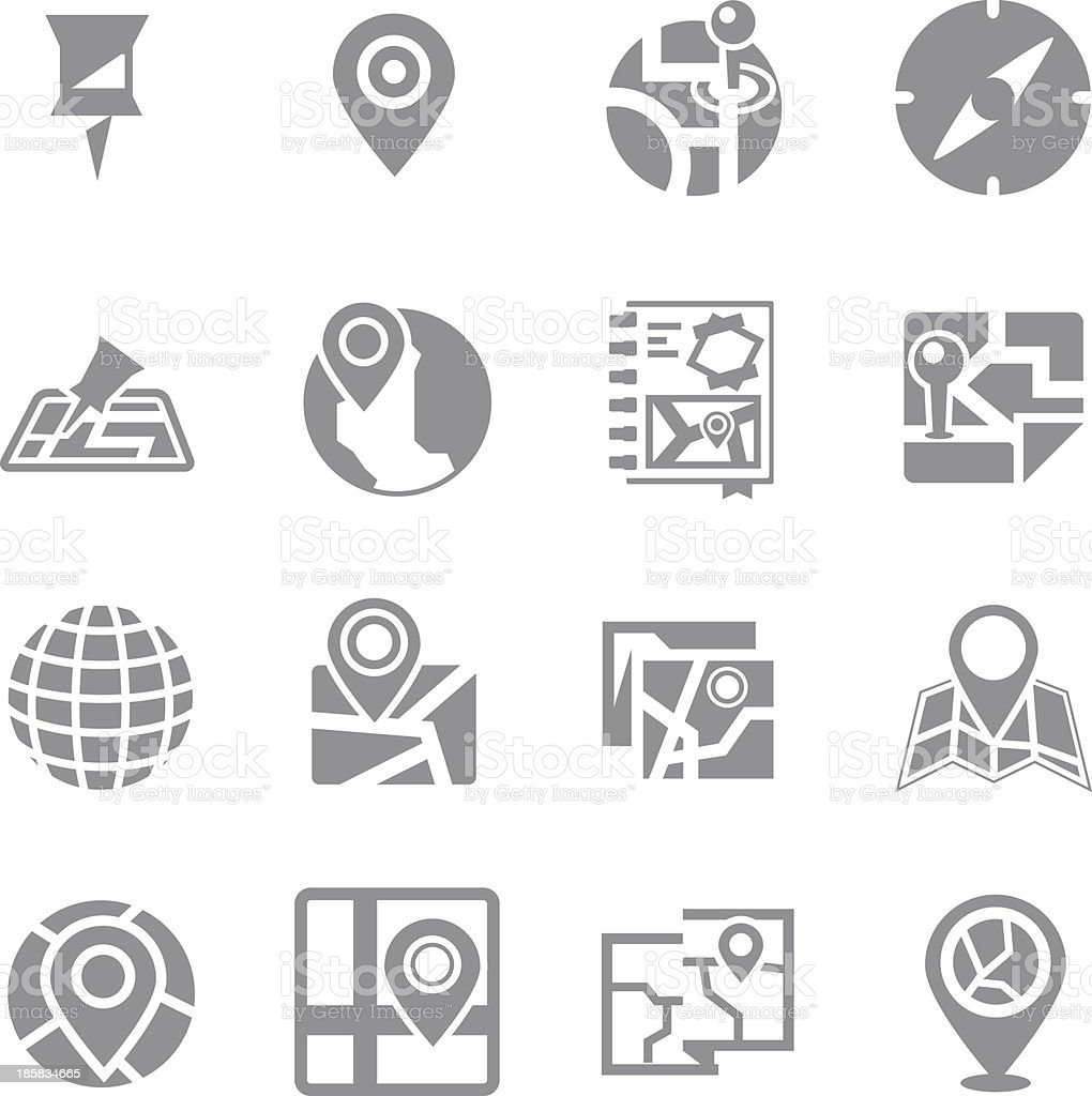 Map & navigation icon set vector art illustration