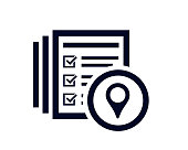 Map navigation location icon  with document list with tick check marks vector illustration.