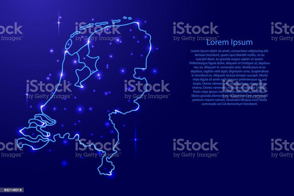 Kaart Nederland uit de contouren netwerk blauw, lichte ruimte sterren van vectorillustratievectorkunst illustratie