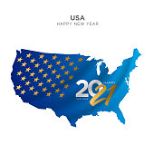 USA map new year concept design. 2021 New Year concept for advertising, banners, leaflets and flyers. Gold Colored map. Vector illustration.