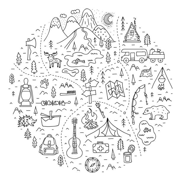 Map of a camping in the forest with basic symbols, trails and places of rest. A trip to nature. Vector illustration. Camping. A hand-drawn map in outline style with basic symbols and places to travel for the weekend. Linear doodle illustration. Camping in the forest and outdoor recreation. Vector. adventure borders stock illustrations