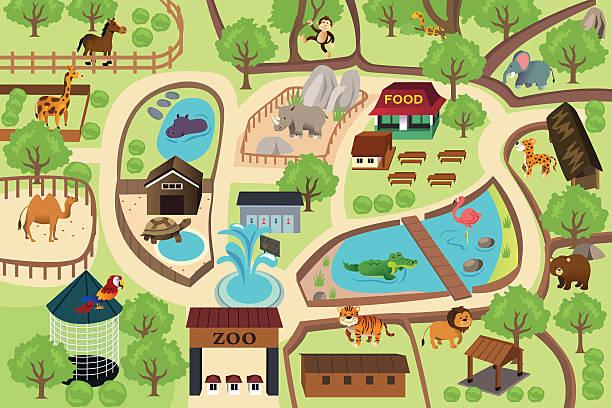 マップの動物公園 - 動物園点のイラスト素材/クリップアート素材/マンガ素材/アイコン素材
