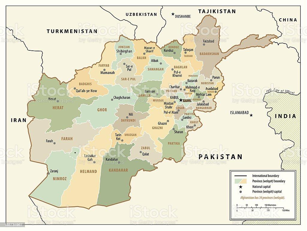 Mapa do Afeganistão - ilustração de arte em vetor