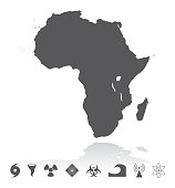 Map of Africa Disaster Icons Set