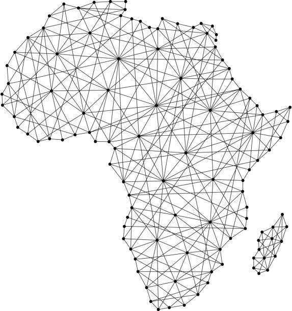 Mapa da África de linhas pretas poligonais e pontos de ilustração vetorial - ilustração de arte em vetor