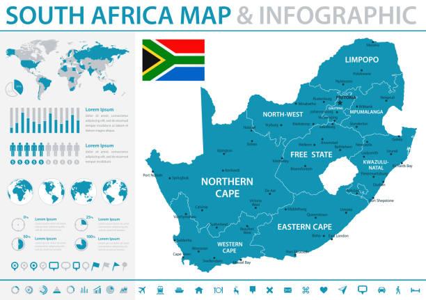 bildbanksillustrationer, clip art samt tecknat material och ikoner med karta över afrika - infographic vektor - south africa