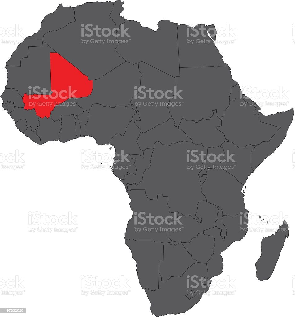 Map Of Africa On Gray With Red Mali Vector Stock Vector Art & More ...