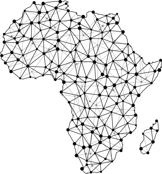 Map of Africa Triangular Node Line Pattern Map of Africa Triangular Node Line Pattern pattern stock illustrations