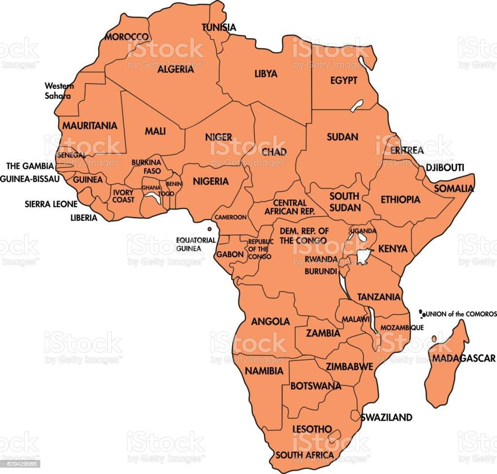 Afrika Karta Guinea.Karte Von Afrika Mit Allen Landern Stock Vektor Art Und Mehr Bilder