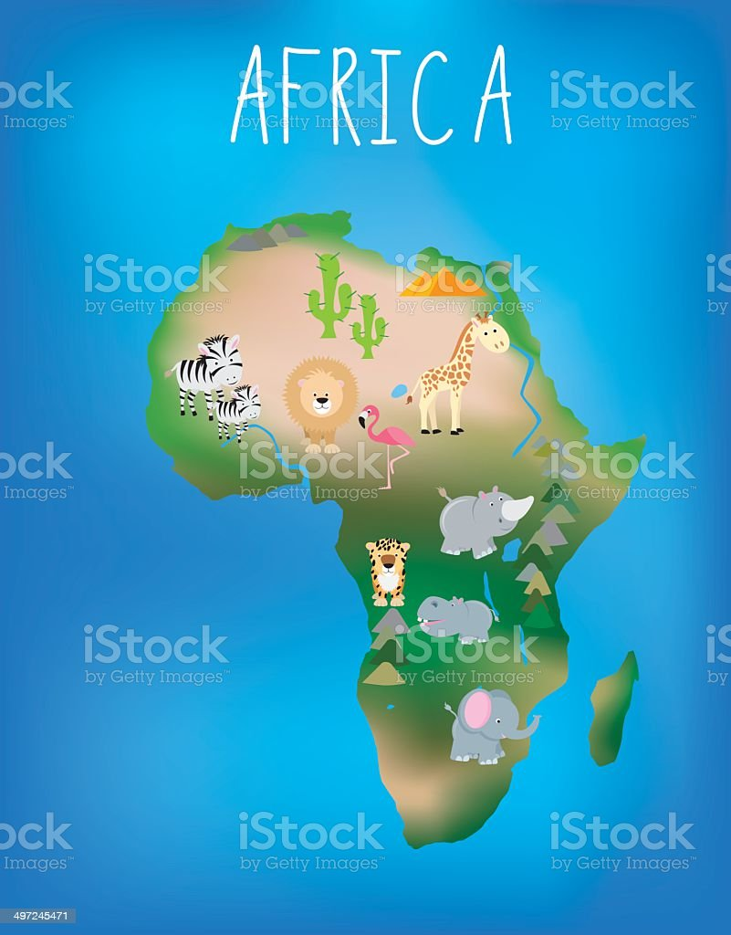 Cute Usa Map.Map Of Africa With Cute Wildlife And Animals Stock Vector Art More