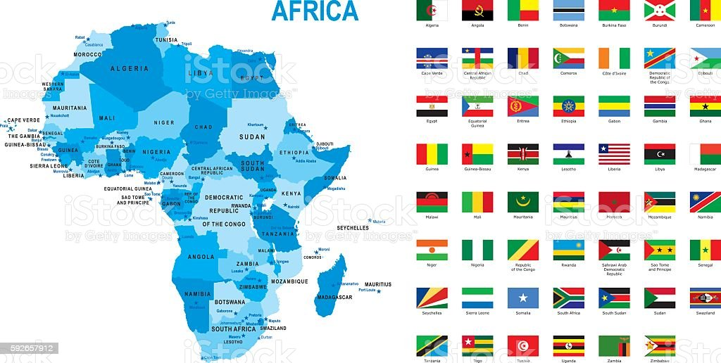 Map Of Africa With Flag Against White Background Stock ...