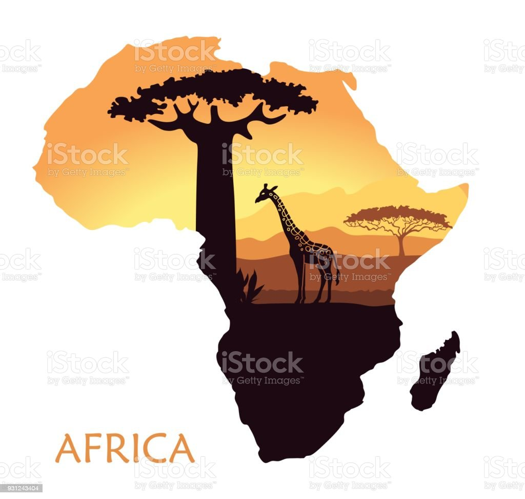 Map of Africa with the landscape of sunset in the Savannah, giraffe, baobab and acacia. Vector background vector art illustration