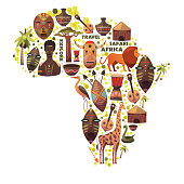 Map of Africa with vector icons. Masks, music, animals, people. Safari travel and adventure