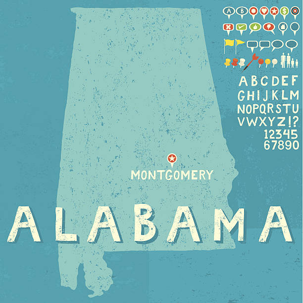 map of alabama with icons - alabama stock illustrations