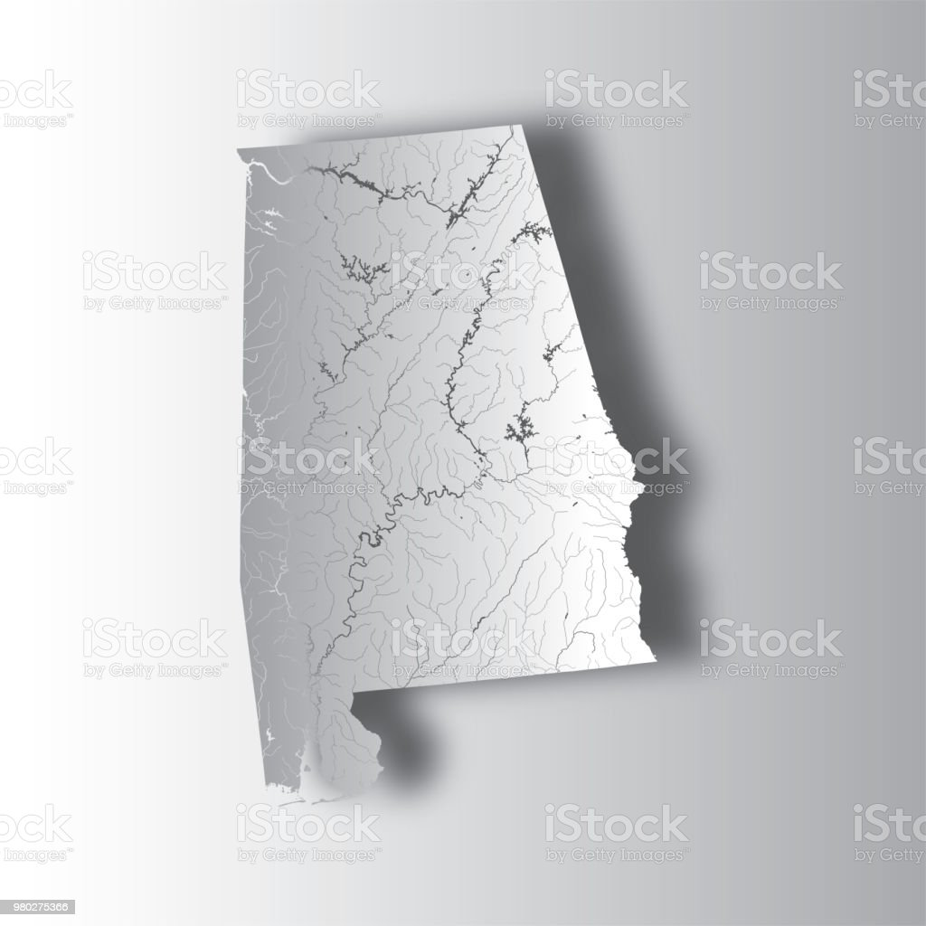 Map Of Alabama With Lakes And Rivers Stock Vector Art More Images - Us-state-map-with-rivers