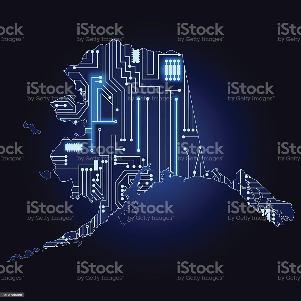 Map Of Alaska With Electronic Circuit Stock Vector Art More Images Schematic Photos Royalty Free