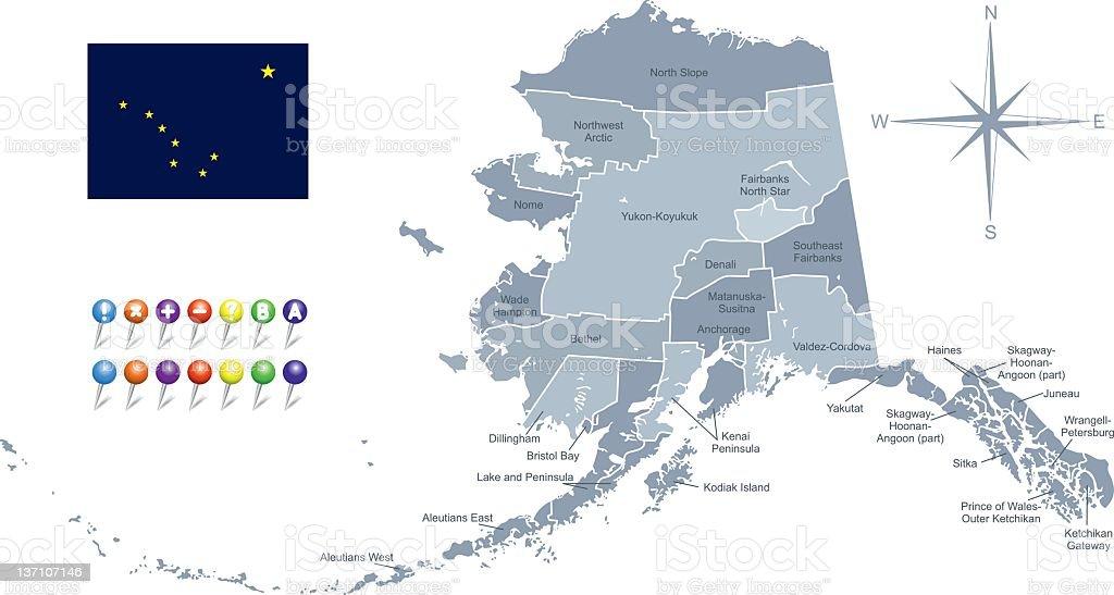 Map of Alaska with its flag vector art illustration