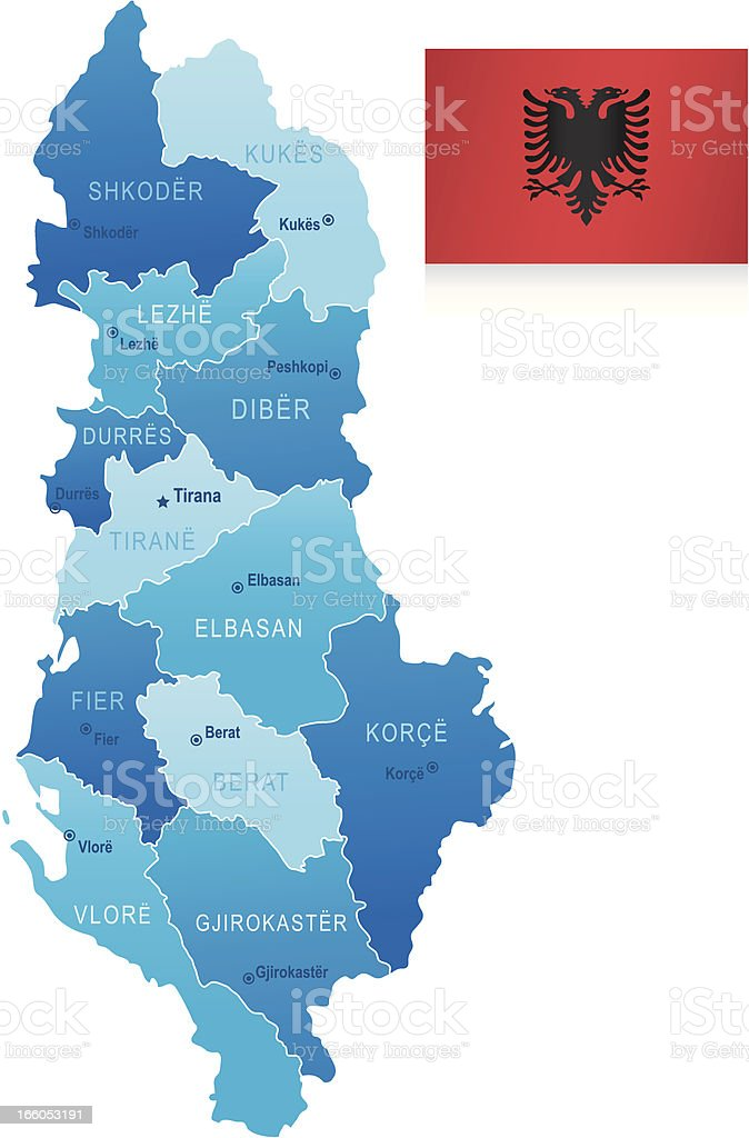 Map of Albania - states, cities and flag royalty-free stock vector art