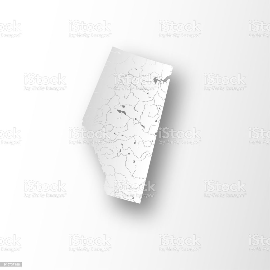 Map of Alberta with rivers and lakes. vector art illustration