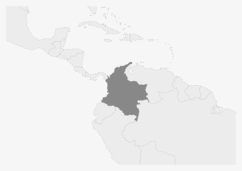 Map of America with highlighted Colombia map