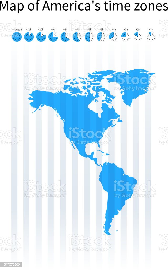 Map Of Americas Time Zones Blue Silhouette Stock ...