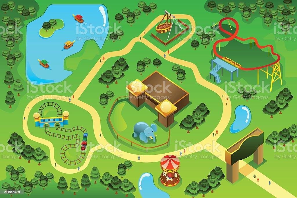 Map  of an amusement theme park vector art illustration