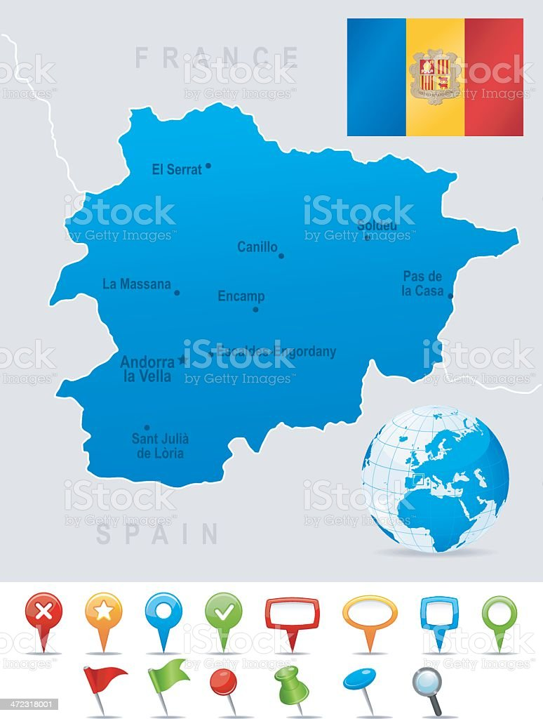 Picture of: Map Of Andorra Cities Flag And Icons Stock Illustration Download Image Now Istock