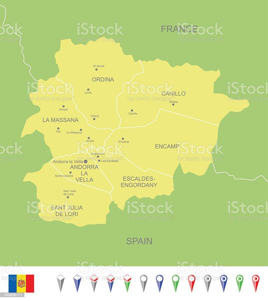 Map of Andorra vector art illustration