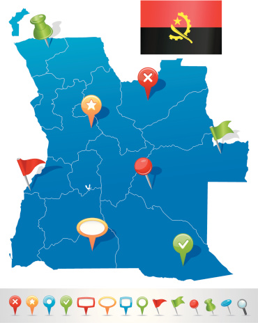 Map of Angola with navigation icons