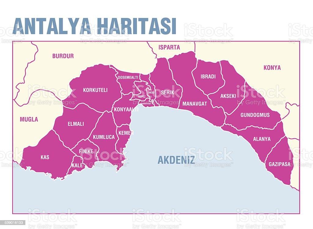 Map of Antalya vektör sanat illüstrasyonu