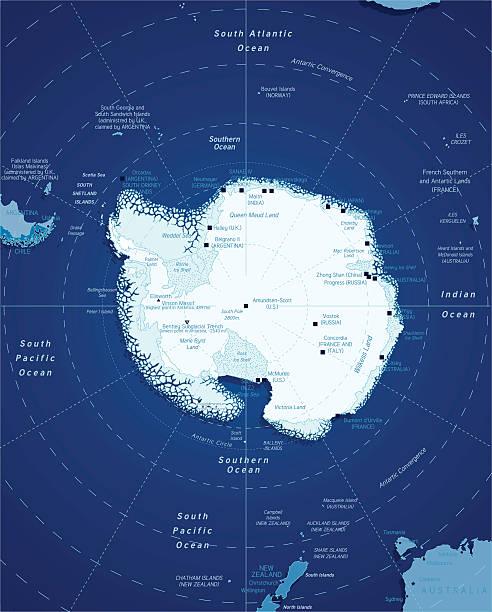 ilustraciones, imágenes clip art, dibujos animados e iconos de stock de mapa de antártico - mapa de antártida
