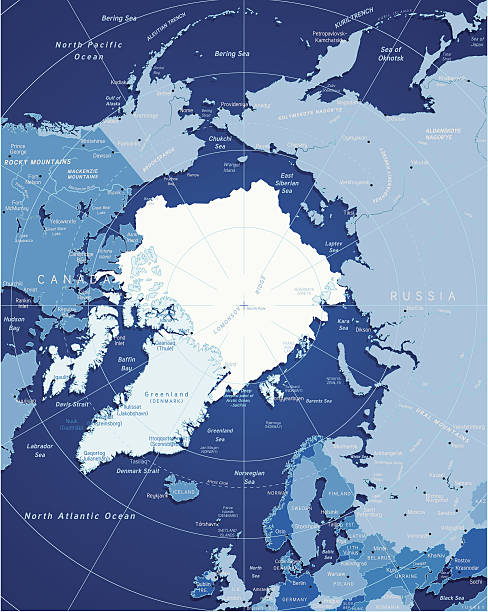Map Of Arctic Vector illustration of precise map of Arctic region. north pole stock illustrations