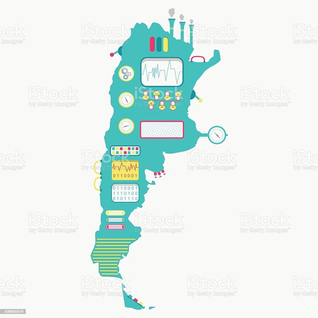 Map of Argentina machine vector art illustration