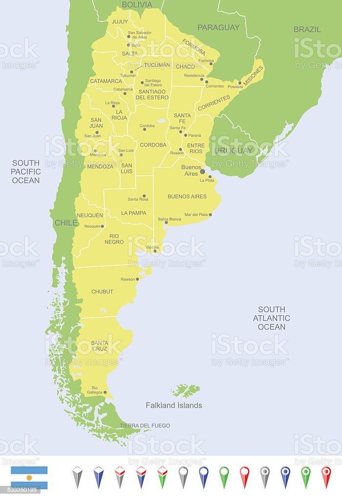Map of Argentina vector art illustration