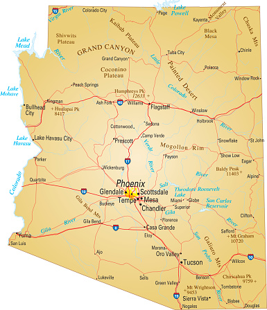 Map Of Arizona Usa Highways Major Roads And Rivers Stock ...
