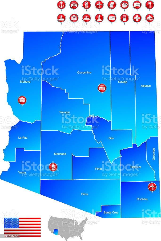 map of Arizona royalty-free stock vector art