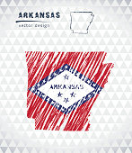 Map of Arkansas with hand drawn sketch pen map inside. Vector illustration