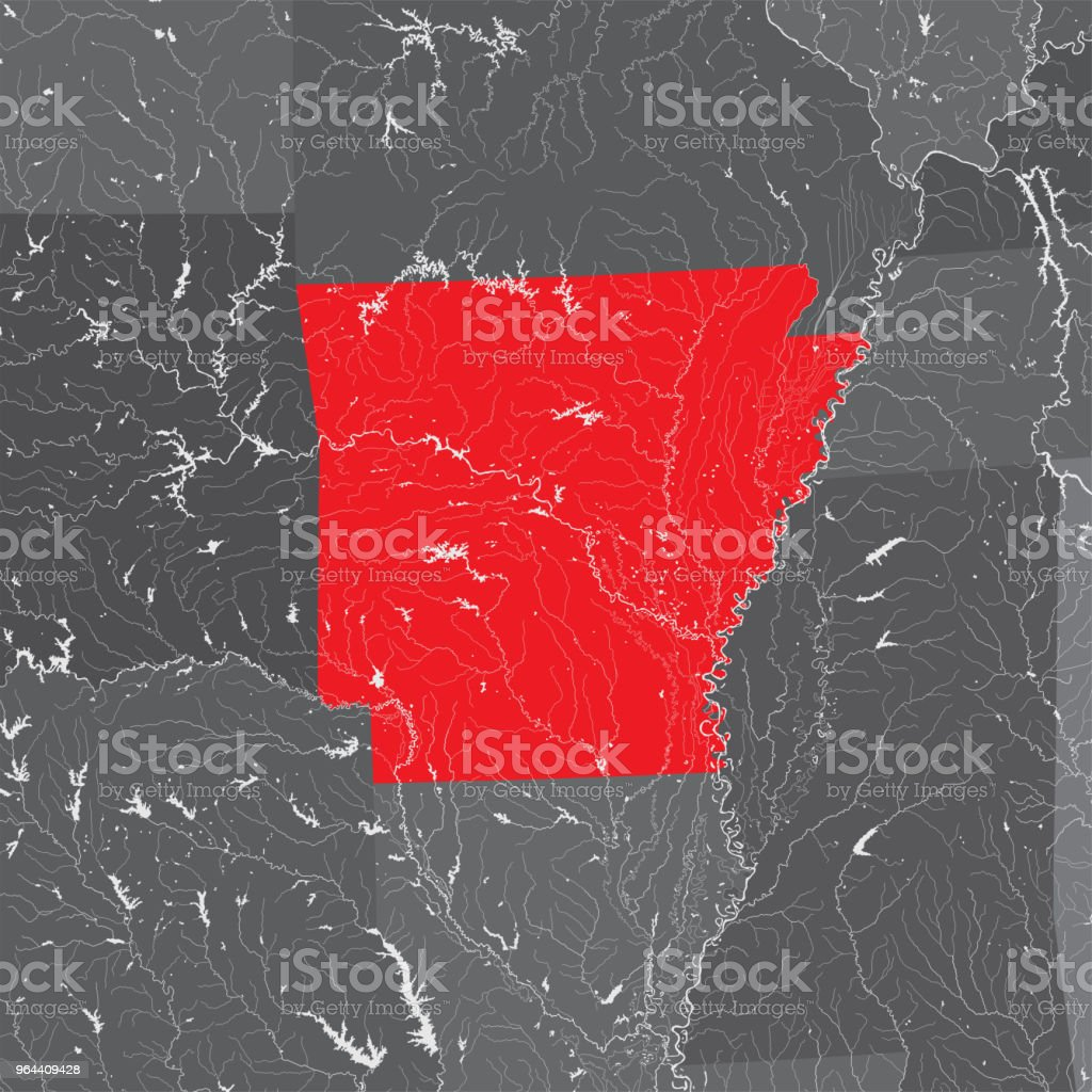 Map Of Arkansas With Lakes And Rivers Stock Illustration ...