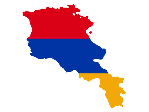 Map of Armenia with national flag vector illustration of Map of Armenia with national flag armenia country stock illustrations